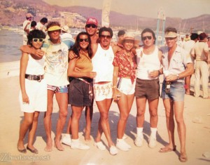 May 7, 1989 - Jean Claude, Doro, Noyo, Lupita, Lalo, and me at the muelle on day 3 of the Torneo de Pez Vela (click to enlarge)