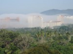 Strange fog covers hotels and condos in Ixtapa - click to enlarge