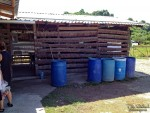 Barrels for the school's water supply - click to enlarge