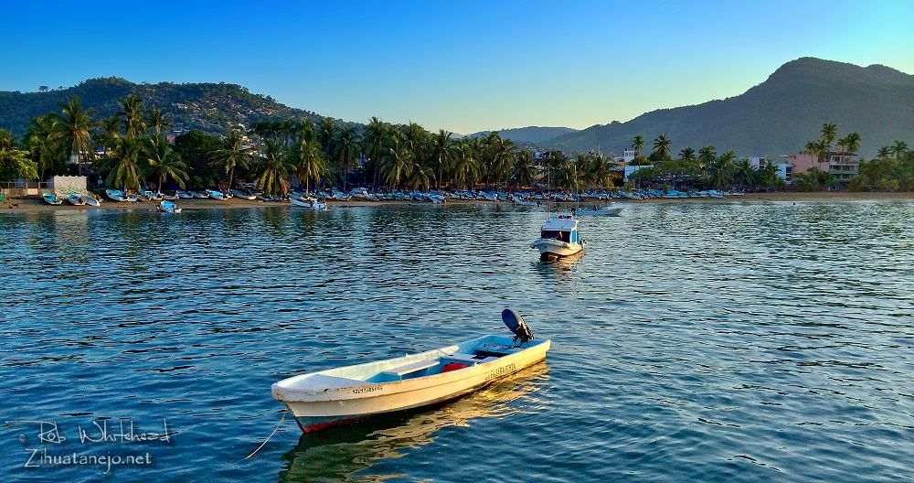 Pangas in the calm waters of Zihuatanejo Bay